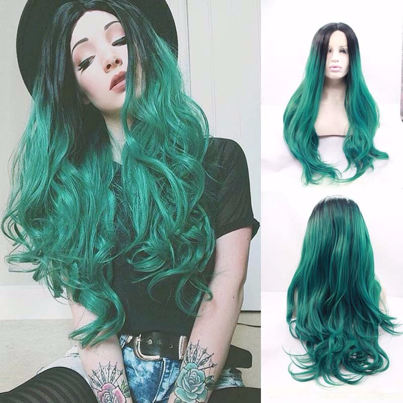 ФОТО In Stock Top Quality 1b#Black To Green Ombre Long Body Wave Synthetic Lace Front Wigs Heat Resistant Fiber