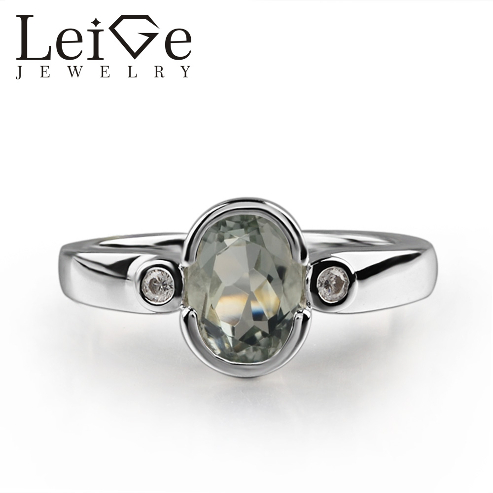 цены 925 Silver Green Amethyst Ring Oval Cut Green Gemstone Bezel Setting Promise Rings for Women Romantic gifts