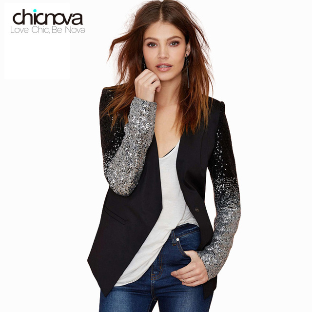 455d62a4957 Slim fit one button frauen jacke mantel PU neck patchwork Schwarz silber  pailletten Jacken frau 2016