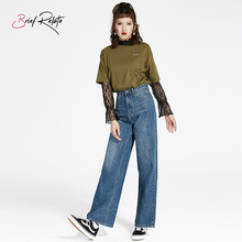 Brief Relate New Loose Harajuku BF Straight Denim Pants Fashion Chic Wide Leg High Waist Washed Durable Casual Wear