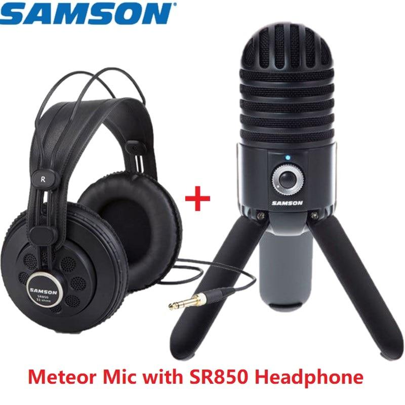 Samson Meteor Mic USB Studio Condenser Microphone with SAMSON SR850 headphone for Computer Video Recording