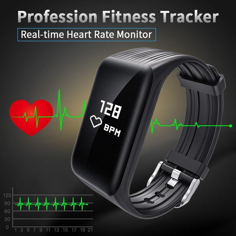 Nuovo Inseguitore di Fitness K1 Braccialetto Intelligente in tempo Reale Monitor di Frequenza Cardiaca verso il basso per sec di Ricarica 2 ore Useing 1 settimane orologio da polso impermeabile