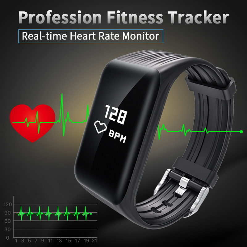 Nuovo Inseguitore di Fitness K1 Braccialetto Intelligente Frequenza Cardiaca in tempo Reale Monitor verso il basso per sec Ricarica 2 ore Useing 1 settimane impermeabile orologio