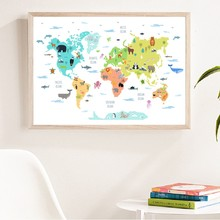 Mapa-múndi de animais selvagens, imagem de pintura educacional para berçário, decoração de parede de animais fofos de desenho animado