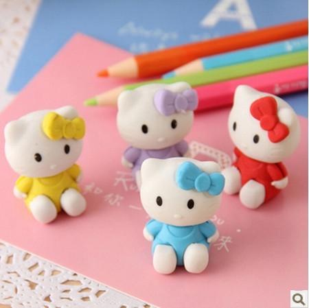 2 Pcs / Lot Kawaii Hello Kitty Shape Eraser Rubber Eraser Primary Student Prizes Promotional Gift Stationery KCS