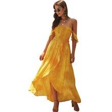 2019 summer women's chiffon dress hot off-the-shoulder print dress irregular large swing dress недорого