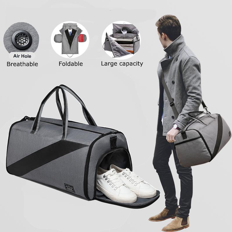 Vbiger Men Business Trip Travel Handbag Suit Bag Waterproof Multifunction Durable Shoulder Bag for Male Suit Duffle Luggage Bag