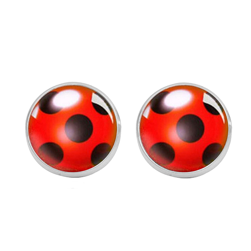 Fashion Ladybug Anime Cartoon Style Stainless Steel Plated Earrings Jewelry Cartoon Glass Dome Stud Earrings Gifts For Women