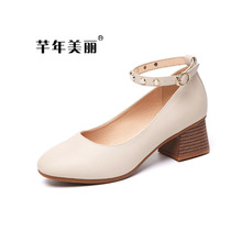 New Arrival 2017 Women's Med Heel Shoes Ankle Beading Pear Mary Jane Office Lady Court Shoes Working Career WP074