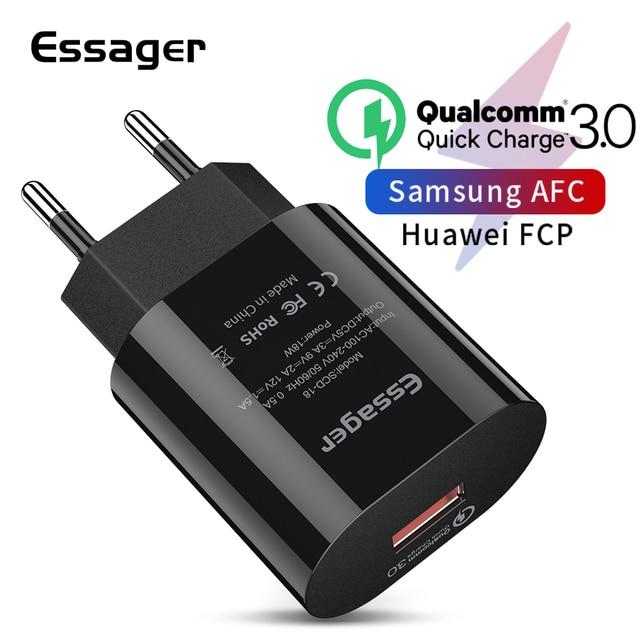 Essager 急速充電 3.0 USB 充電器 QC3.0 QC ターボ高速充電 EU トラベル壁の充電器 Huawei 社 P30 シャオ mi mi 9 携帯電話