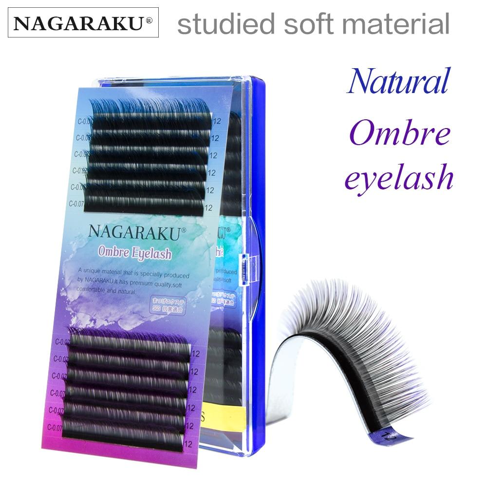 NAGARAKU Ombre Color Purple blue Gradient color Individual eyelashes 0.07C eyelash extensions Premium soft mink 8-12mm
