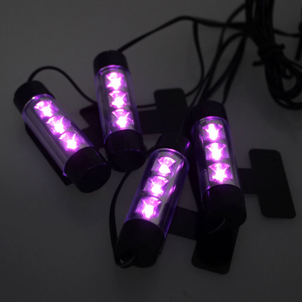 New Vehicle 4 x 3LED Car Accessory 12V Glow Interior Decorative 4in1 Atmosphere Light Lamp Purple Ap27 high quality 4pcs 3 led universal car accessory glow interior decorative atmosphere light purple orange lamp