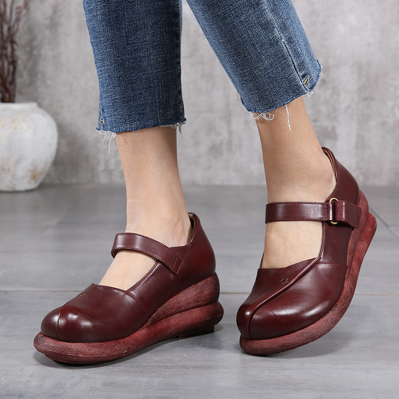 2018 VALLU Genuine Leather Shoes Women Platform Pumps Round Toes Buckle Wedges Pumps Thich Heels Ladies Mary Janes Shoes mary janes round toe shoes kid suede leather chaussure femme women high heels shoes buckle strap platform spring pumps