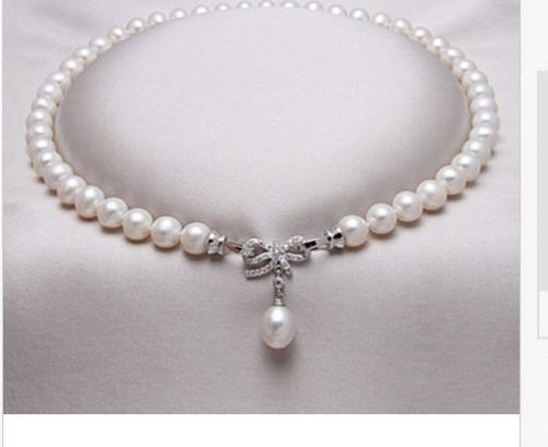New natural white freshwater pearl AA necklace nearly circular 8-9 mm 19inchesNew natural white freshwater pearl AA necklace nearly circular 8-9 mm 19inches