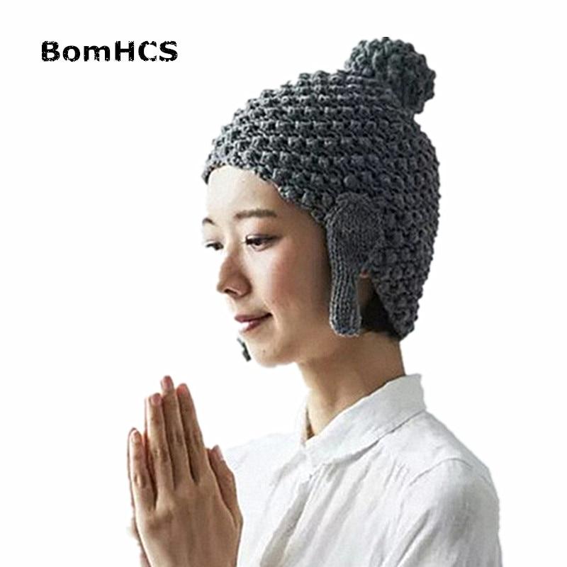 BomHCS Maitreya Buda sombrero, divertido hecho a mano gorro de punto ...