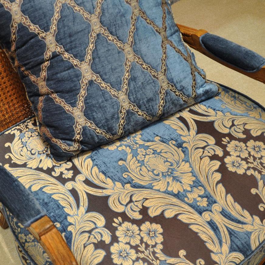 Işık Kraliyet Mavi Gökyüzü Mavi Altın Salon valance ile Kanca - Ev Tekstili - Fotoğraf 5