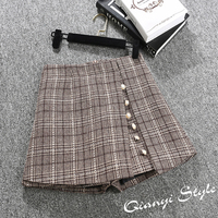 2018 Spring Women Shorts High Waist A Line Wide Leg Plaid Skirt Shorts Boots Shorts