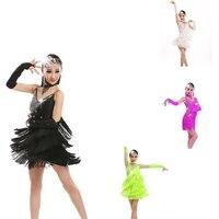 New Children Tassel Latin Ballroom Dance Dress Kids Girls Dancewear Fringe Skirts Latin Stage Dance Costume Clothing 4 color