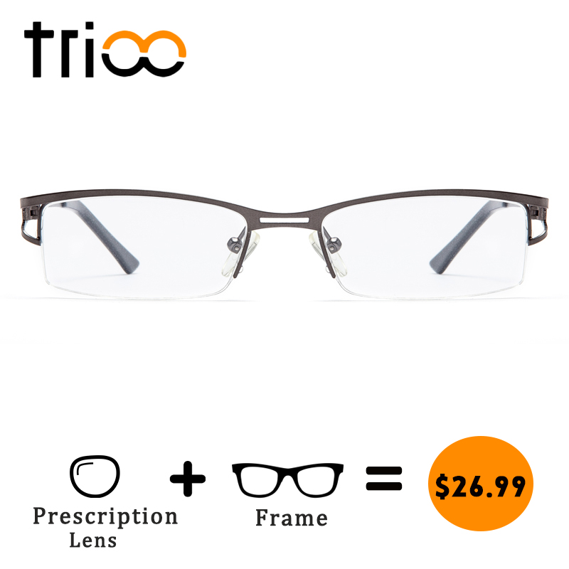 TRIOO Cool Matte Grey <font><b>Prescription</b></font> <font><b>Glasses</b></font> for <font><b>men</b></font> Reading Myopia Eyeglasses Male Clear <font><b>Progressive</b></font> Business Type Spectacles image