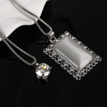 High Quality Cat Eye Stone Square Pendant Necklace Two Layers Chains Necklace Free Shipping