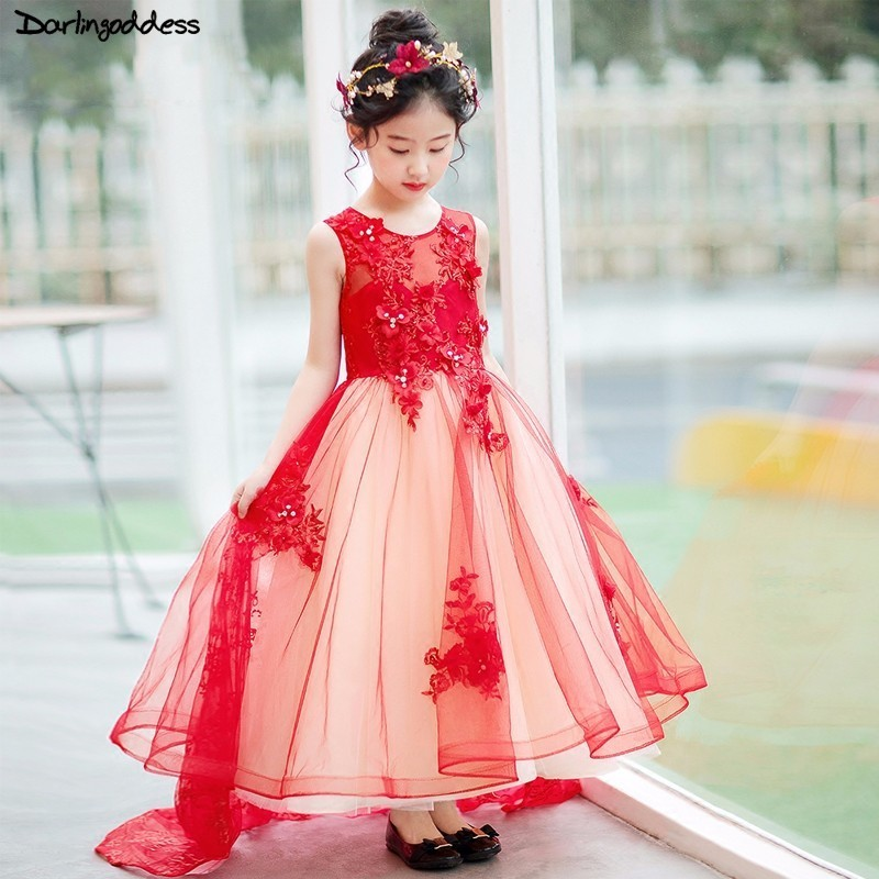Luxury Pageant Evening Gowns 2018 Lace Beading Ball Gown Red   Flower     Girl     Dresses   For Weddings First Communion   Dress   For   Girls