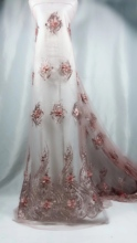 BEAUTIFICAL african lace fabric 3d flowers tulle with beads and stones Latest embroidery french net for wedding LN98