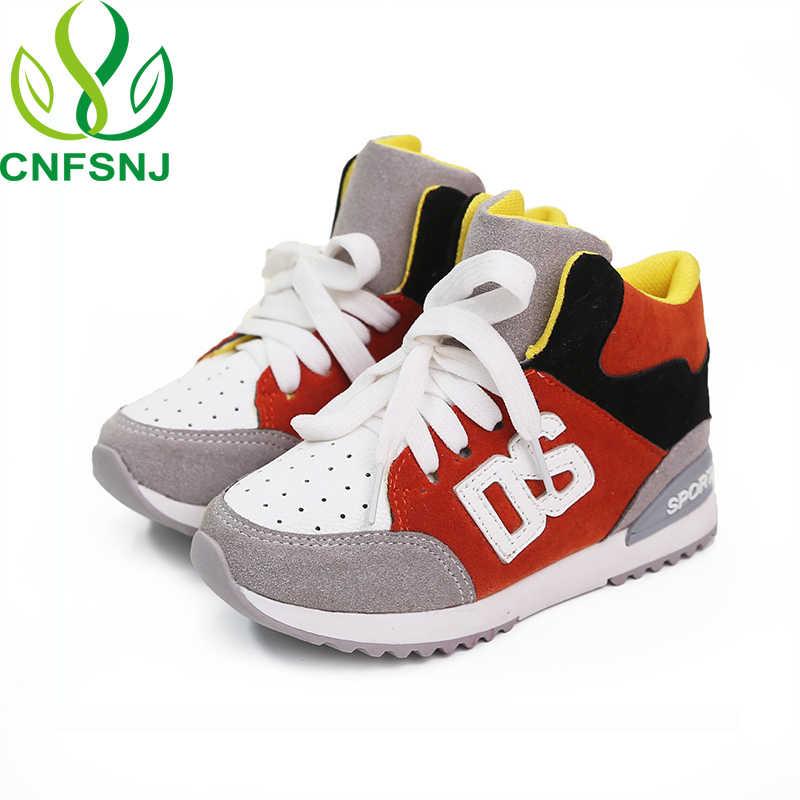 CNFSNJ marka 2019 yeni bahar sonbahar spor ayakkabı çocuklar için çocuklar kızlar dantel-up anti-kaygan moda düz sneakers 26-36