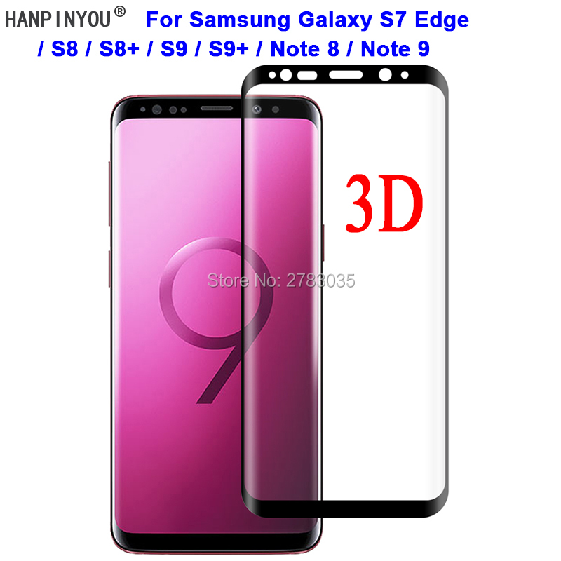 For Samsung Galaxy S9 S8 S7 Edge Plus Note 8 9 Note9 9H 3D Full Cover Slim Curved Tempered Glass Film Screen Protector Guard image