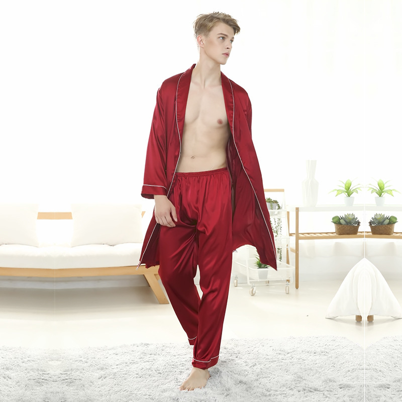 2019 New Men's Spring And Summer Ice Silk Long-sleeved Robe Suit Silk Trousers Bathrobe Silky Fashion  Pajamas  893