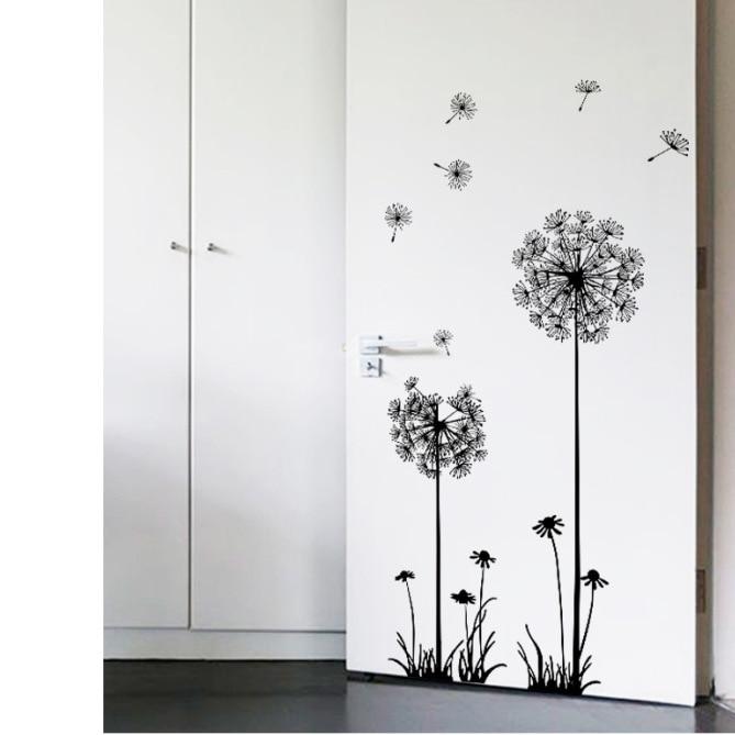 Hot hitam dandelion stiker dinding ruang duduk kamar tidur perhiasan - Dekorasi rumah - Foto 3