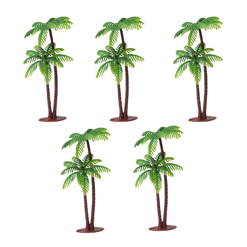 5Pcs Mini Coconut Palm Tree Model Plant DIY Landscape Bonsai Dollhouse Decor Model Blocks Trees Layout Garden Scenery Miniature