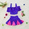 Baby Girl Summer Swim Suit Two Pieces Set Spots Princess Beach Swimwear Toddler Kids Cute Swimwear Bikini S2026