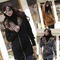 Hot Sale Women Lady Winter Warm Hoodies Sweatshirt Leopard Printed Slim Fit Coat Jacket Long Outerwear