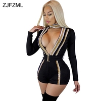 ZJFZML Short Rompers Jumpsuits Women Long Sleeve Cut Out Playsuits Evening Party Club Overalls Striped Sparkle