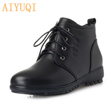 AIYUQI Women snow boots 2019 new women genuine leather winter big size 35-43 flat wool middle-aged mother