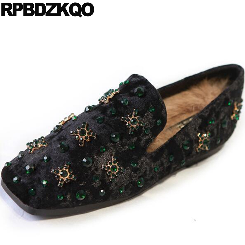 Wide Fit Shoes Ladies Loafers Vintage Rhinestone Crystal Flats Velvet China Women Black Fur Rabbit Square Toe European Spring vintage embroidery women flats chinese floral canvas embroidered shoes national old beijing cloth single dance soft flats
