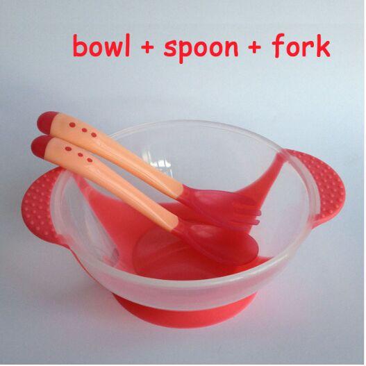 3 шт./компл. детская обучающая посуда с присоской детский спасательный набор посуды для оказания помощи чаша Температура зондирования ложка вилка Посуда - Цвет: Red Dish 3 PC 02