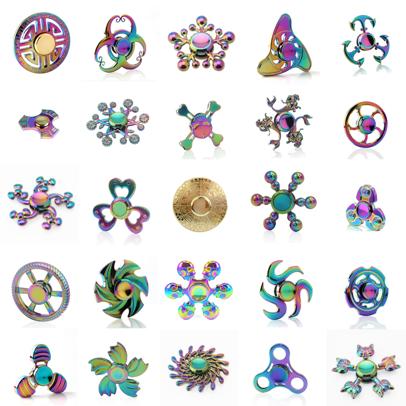 Rainbow Metal Fidget Spinner Zinc Alloy Colorful Hand Spinner For Autism ADHD Adult Stress Relieve EDC Toy Spiner rainbow fidget spinner finger metal edc hand spinner tri for kids autism adhd anxiety stress relief focus handspinner toys gift