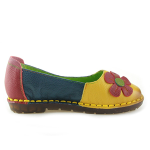 Image 2 - BEYARNE Summer Autumn Fashion Flower Design Round Toe Mix Color Flat Shoes Vintage Genuine Leather Women Flats Girl Loafer
