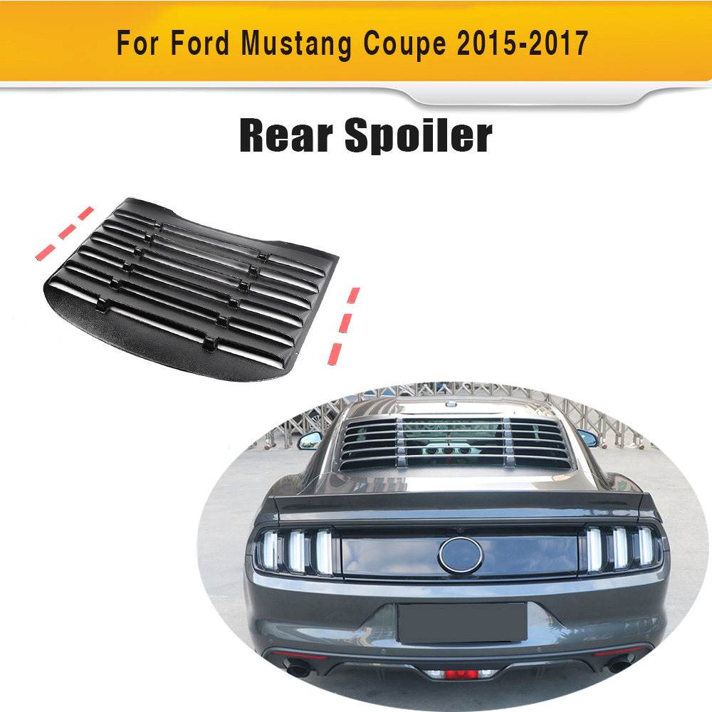 For <font><b>Ford</b></font> <font><b>Mustang</b></font> Coupe <font><b>2015</b></font> 2016 PP Plastic Rear Window Louver Air Vent Black Sun Shade Visor Cover Car accessories image