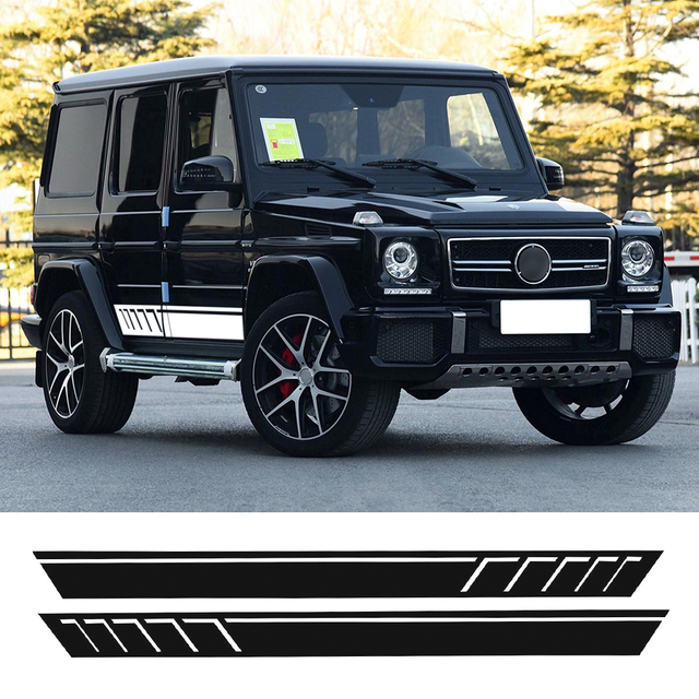 Car styling auto amg sport performance edition side stripe skirt sticker for mercedes benz g63 w463