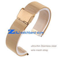 Ultra Thin Gold Stainless Steel Watchband Mesh Strap Width10mm 12mm 14mm 16mm 18mm 20mm 22mm 24mm