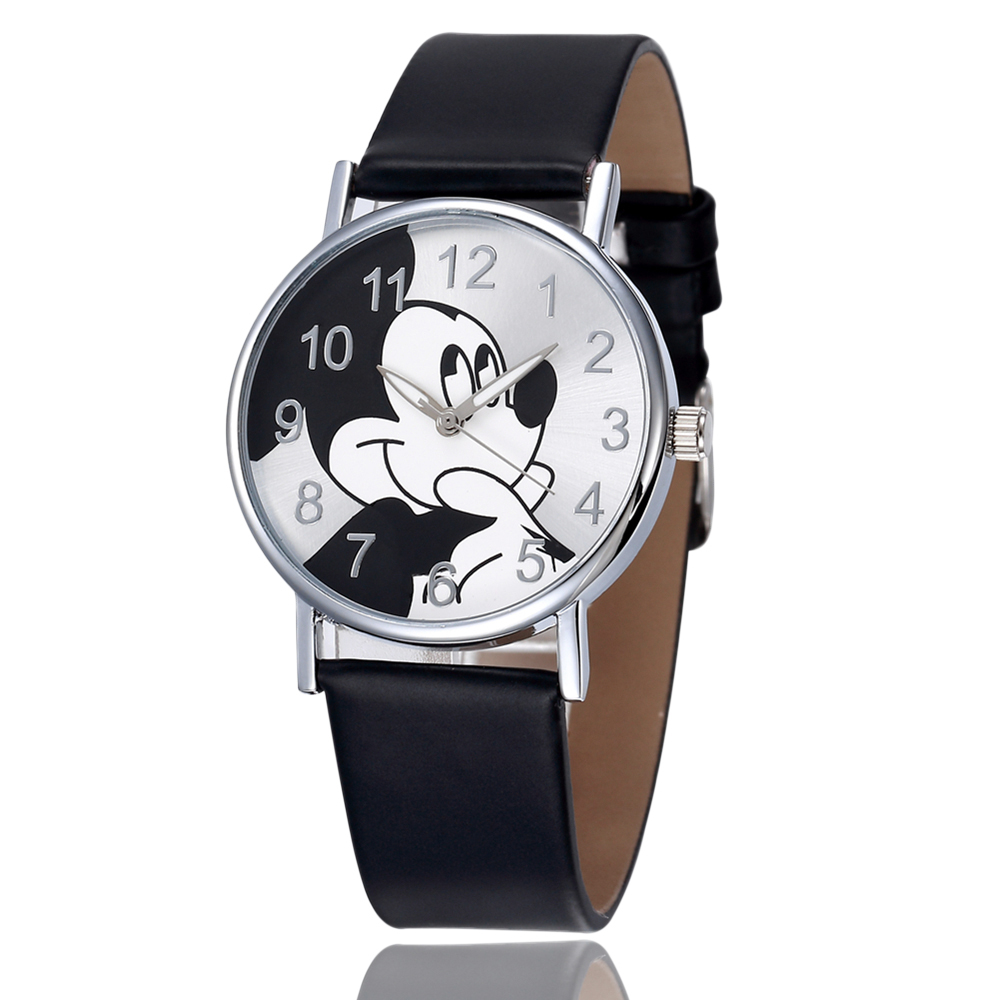 Mickey Mouse Watches Women Men Boys Girls Watch Cartoon Leather Quartz Wristwatch Clock Kids Children Reloj Relogio Saati Montre