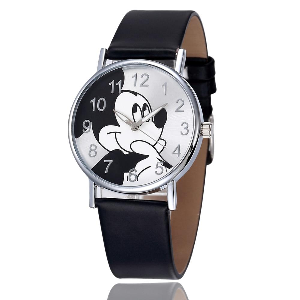 Mickey Mouse Watches Women Men Boys Girls Watch Cartoon Leather Quartz Wristwatch Clock Kids Children Reloj Relogio Saati Montre