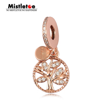 Authentic 925 Sterling Silver Family Heritage Dangle Charm Rose Clear CZ Fit European Bracelets Jewelry Gold