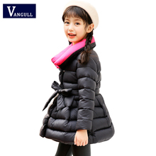 2018 children winter coat 4-15 year old girls Casual Parkas Thickening  Hit color collar Bow belt girls winter Outerwear