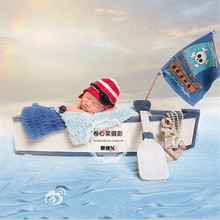 Flokati Newborn Studio Photography Props for Kids Vintage Solid Wood Antique Boat Baby Posing Bean Infant Photo Shoots