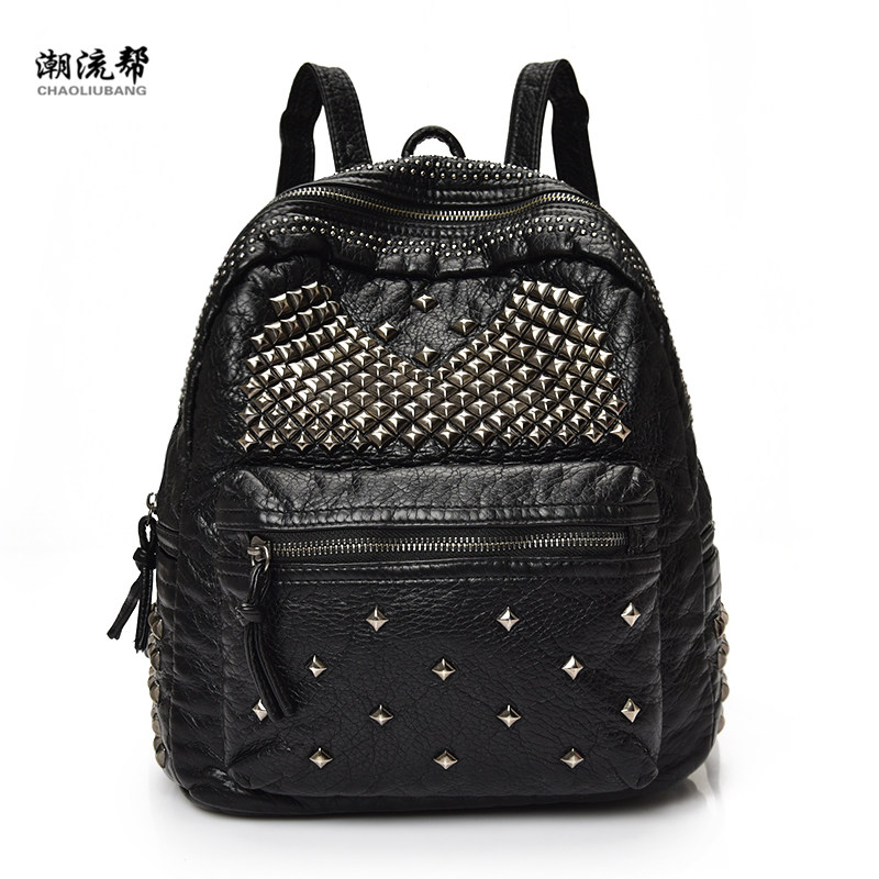 Fashion2017Brand  Soft PU Leather Backpacks Rivet Satchel Shoulder Bags Rucksack Casual Travel School Bags for TeenagersFashion2017Brand  Soft PU Leather Backpacks Rivet Satchel Shoulder Bags Rucksack Casual Travel School Bags for Teenagers
