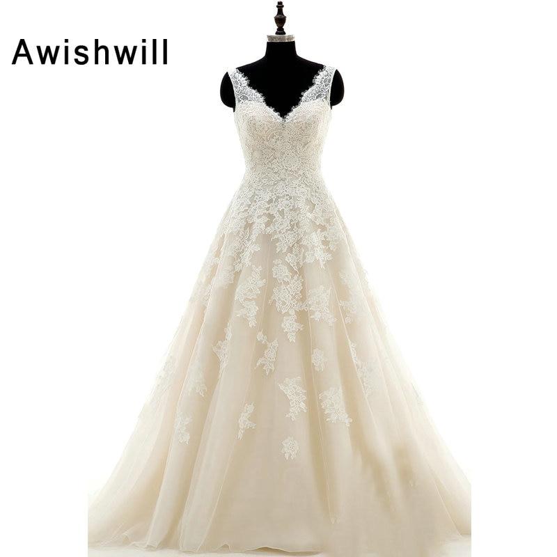 New Arrival V-Neckline Appliques A-Line Bridal Gown Chapel Train Wedding Dress Customize Made Plus Size 2019