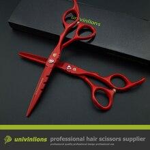 6″ red professional japan hair scissors set razor barber hairdressing cutting thinning tijeras peluqueria salon hair sissors kit